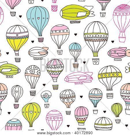 Crianças sem costura ar quente balão plano base padrão em vetor