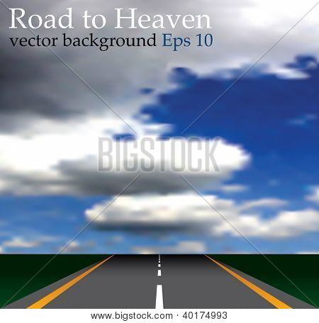 vector illustration of the road to heaven