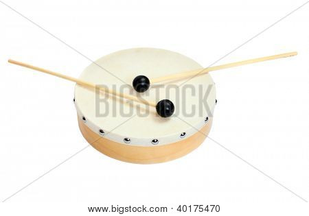 Wooden drum on a white background.