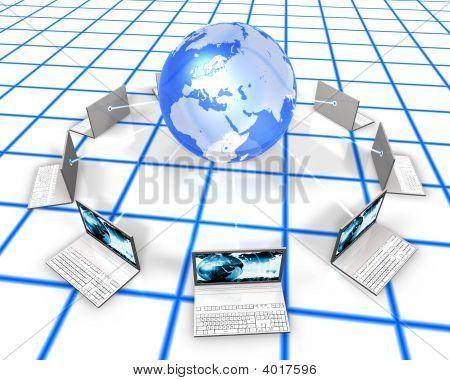 White Laptops On Grid Floor