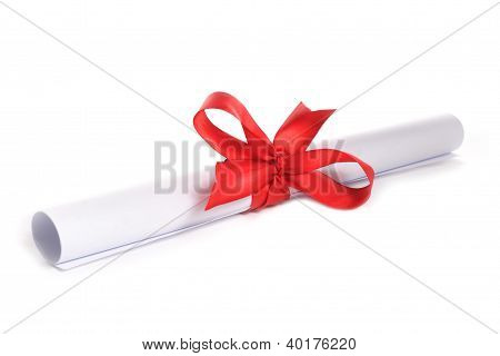 white paper with red ribbon