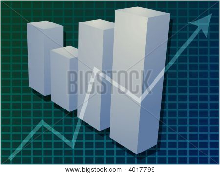 Financial Bar Chart Illustration
