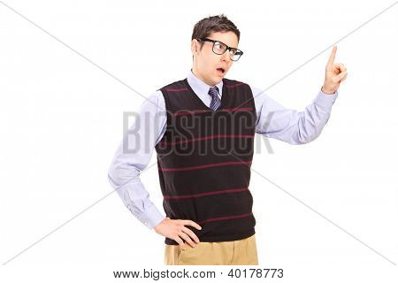 An innocent guy isolated against white background gesturing - You are wrong