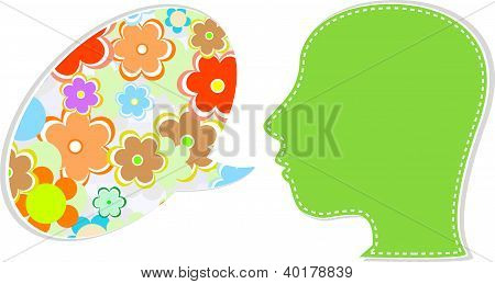 People Head With Speech Bubbles From Flower