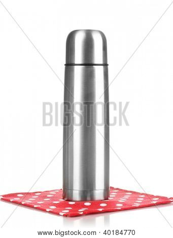 metal thermos on napkin isolated on white