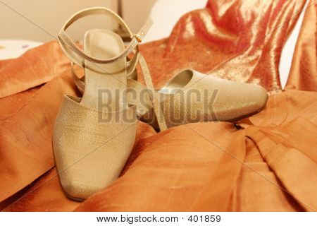 Ladies Bronze Strap Shoe