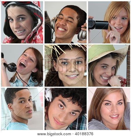 Montage of teenagers relaxing