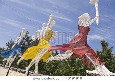 Statue of torchbearers at Beijing Olympic Stadium