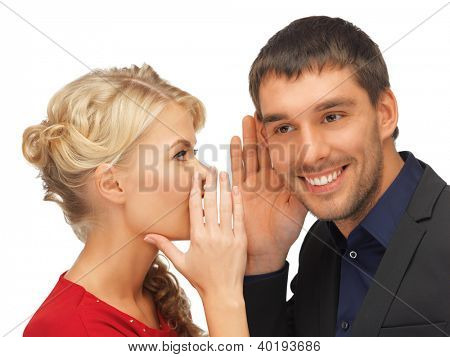 man and woman spreading gossip (focus on man)