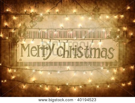 Image of banner with text of Merry Christmas on grungy background, glowing garland, electrical yellow lights, happy Christmastime holidays, abstract shiny backdrop, festive greeting postcard