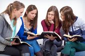 stock photo of scriptures  - Women team learn truth from the Bible  - JPG