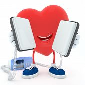 stock photo of defibrillator  - Smily heart keeping defibrillator on white background - JPG