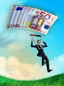 Businessman using an euro bill as a parachute. Digital illustration.