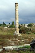 image of artemis  - One column and ruins of Artemis temple in Selcuk Turkey - JPG