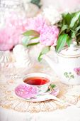 stock photo of sugar paste  - Tea in the Shabby Chic style - JPG