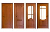 pic of wooden door  - set of wooden doors isolated on white - JPG