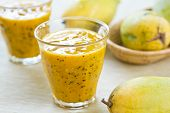 foto of passion fruit  - Fresh Mango with Passion fruit smoothie by fresh Mango - JPG