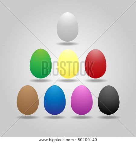 Magic Eggs Floating On Gray Background