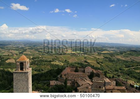 Toscan landscape from San Gimignano