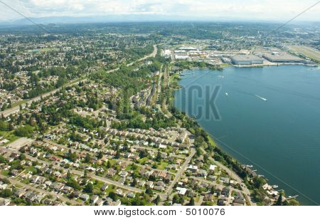 Over Seattle Residential  Industrial Area