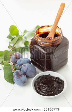 Plum jam with freshly picked plums