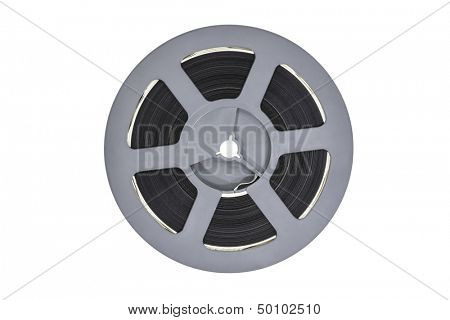 Vintage plastic super 8 film reel isolated with clipping path.