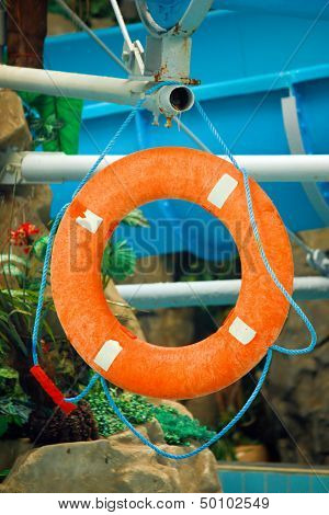 Red Life Buoy In The Water Park