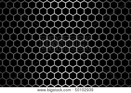 Steel Grid With Hexagonal Holes Under Straight Central Light