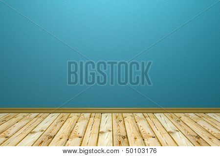 Empty Room With Rough Wall And Wooden Floor