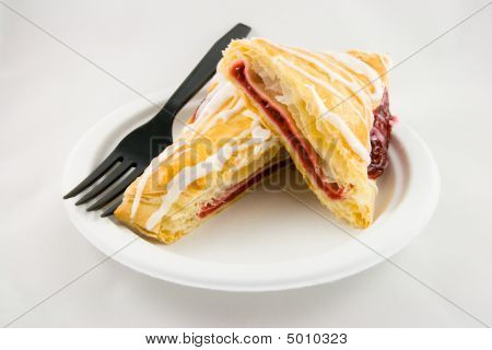 Sliced Cherry Danish With Fork