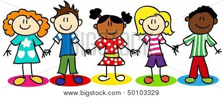 Stick Figure Ethnic Diversity Kids