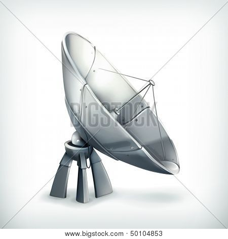Parabolic antenna, vector icon