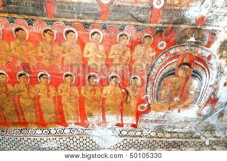 Dambulla - October 15: The Paintings Inside Of Dambulla Cave Temple. It Is The Large Cave Temple Com