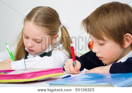 Schoolchildren Writing In Workbook