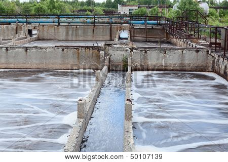 Tanks For Oxygen Aeration In Wastewater Treatment Plant. Long Exposure