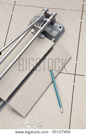 Tools For Installation Of The Floor From A Ceramic Tiles