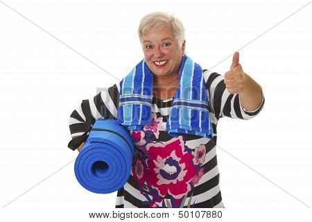 Female Senior With Blue Gym Mat