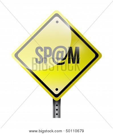 Spam Yellow Road Sign Illustration