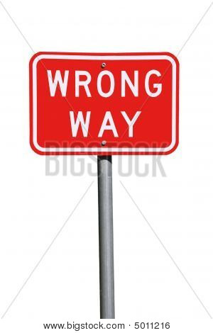 Wrong Way Traffic Sign - Current Australian Road Sign, Isolated On White