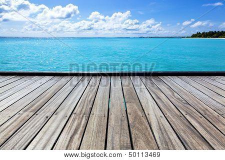 Empty Sea Pier On A Tropical Island