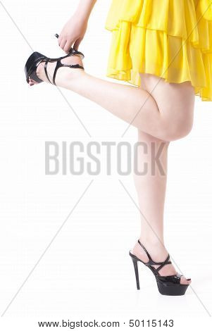 Young Woman Legs With Shoes