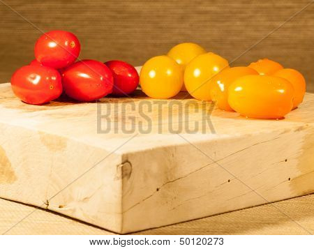 Sliced Tomatoes On A Chopping Board