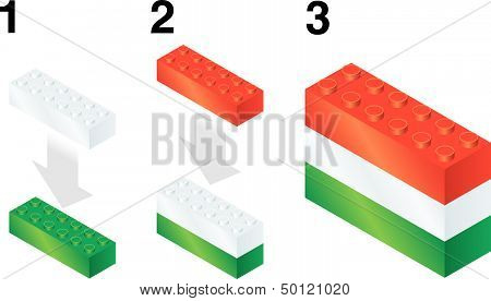Building blocks making Hungarian flag