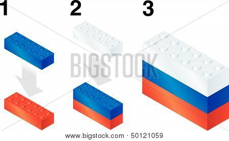Building blocks making Russian flag