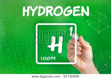 Hand drawing the symbol for the chemical element hydrogen