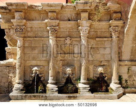 Old Venetian Fountain In City Of Rethymno, Crete, Greece