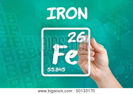 Hand drawing the symbol for the chemical element iron