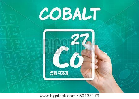 Hand drawing the symbol for the chemical element cobalt