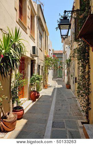 Narrow Street In City Of Rethymno, Crete, Greece
