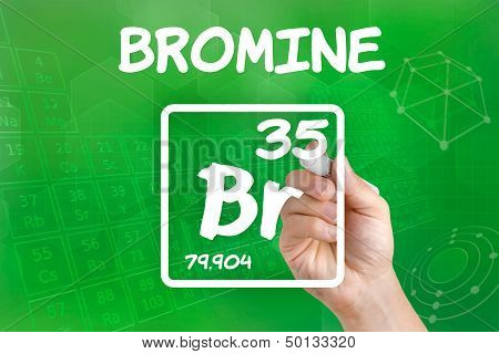 Hand drawing the symbol for the chemical element bromine